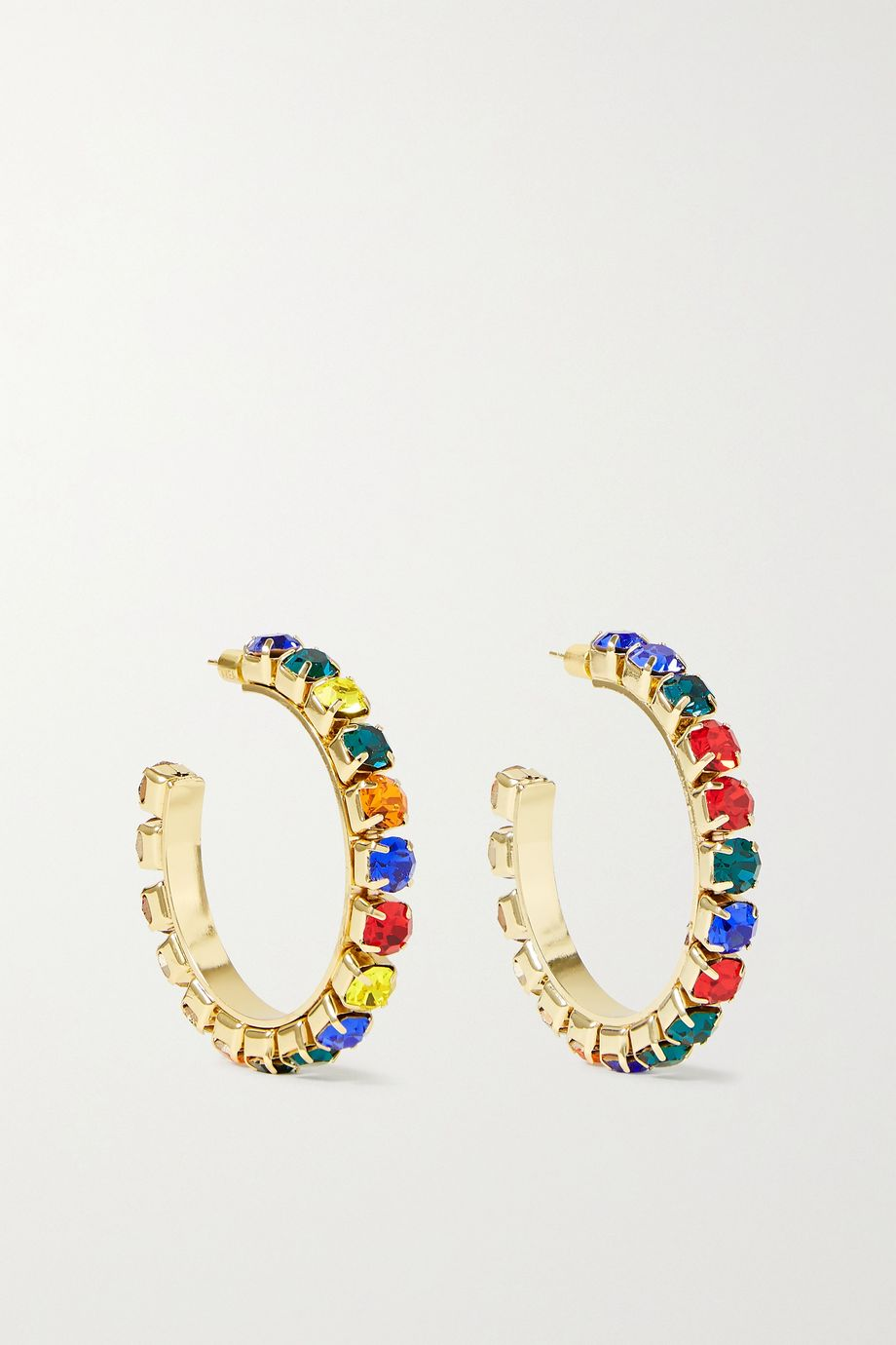 AREA Gold-tone crystal hoop earrings