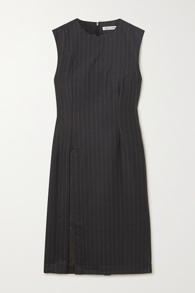 Wright Le Chapelain Draped Pinstriped Wool Dress In Charcoal