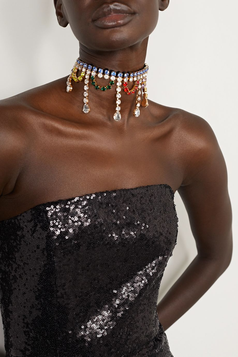 AREA Velvet, gold-tone and crystal choker