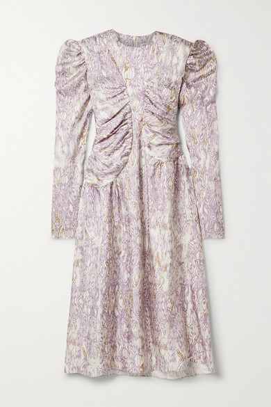 Wright Le Chapelain Romantic Printed Silk-twill Midi Dress In Lilac