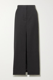 Pinstriped wool maxi skirt