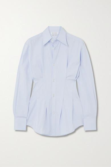 Wright Le Chapelain Pleated Cotton-poplin Shirt In Sky Blue