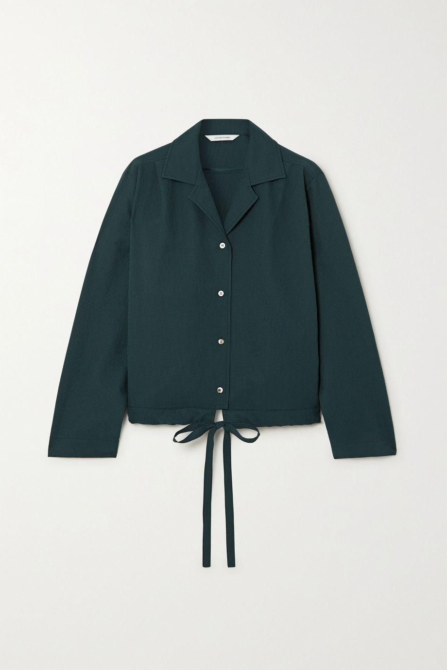 LE 17 SEPTEMBRE Drawstring seersucker blouse