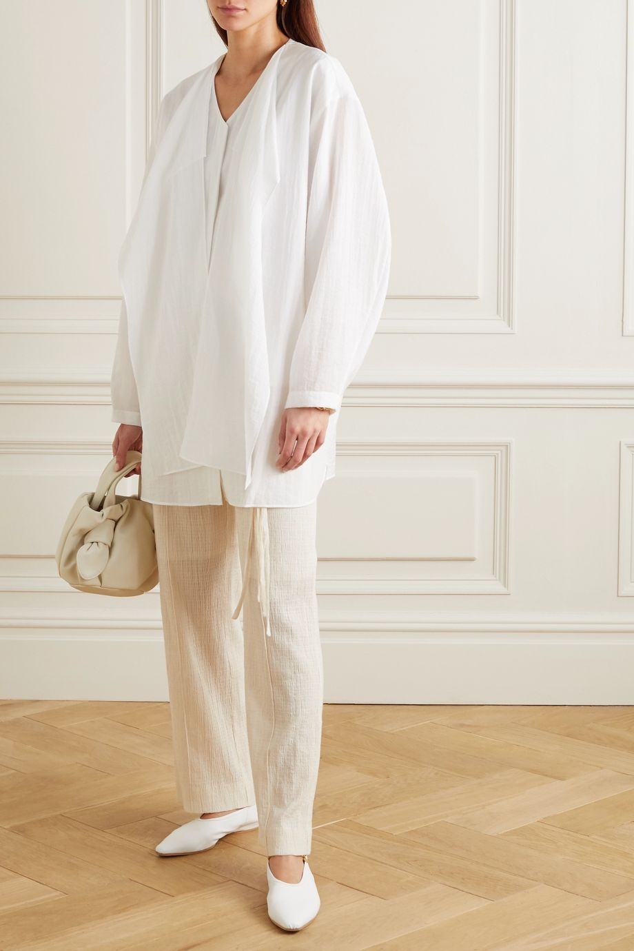 LE 17 SEPTEMBRE Draped crinkled-voile blouse