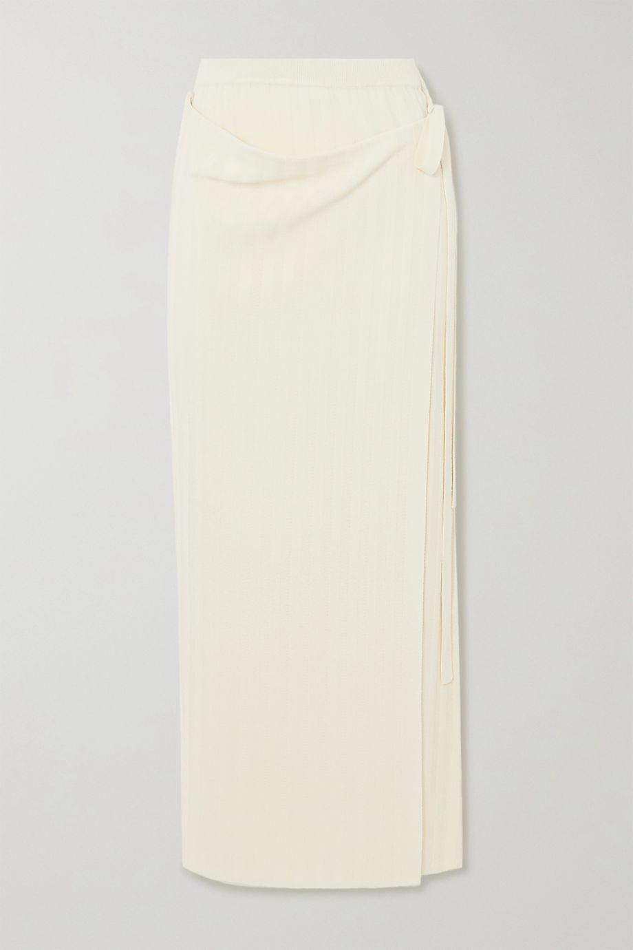 LE 17 SEPTEMBRE Ribbed-knit wrap maxi skirt