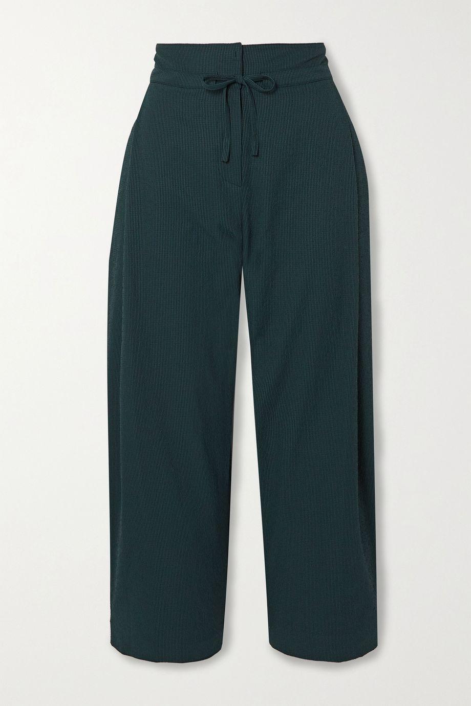LE 17 SEPTEMBRE Cropped seersucker wide-leg pants