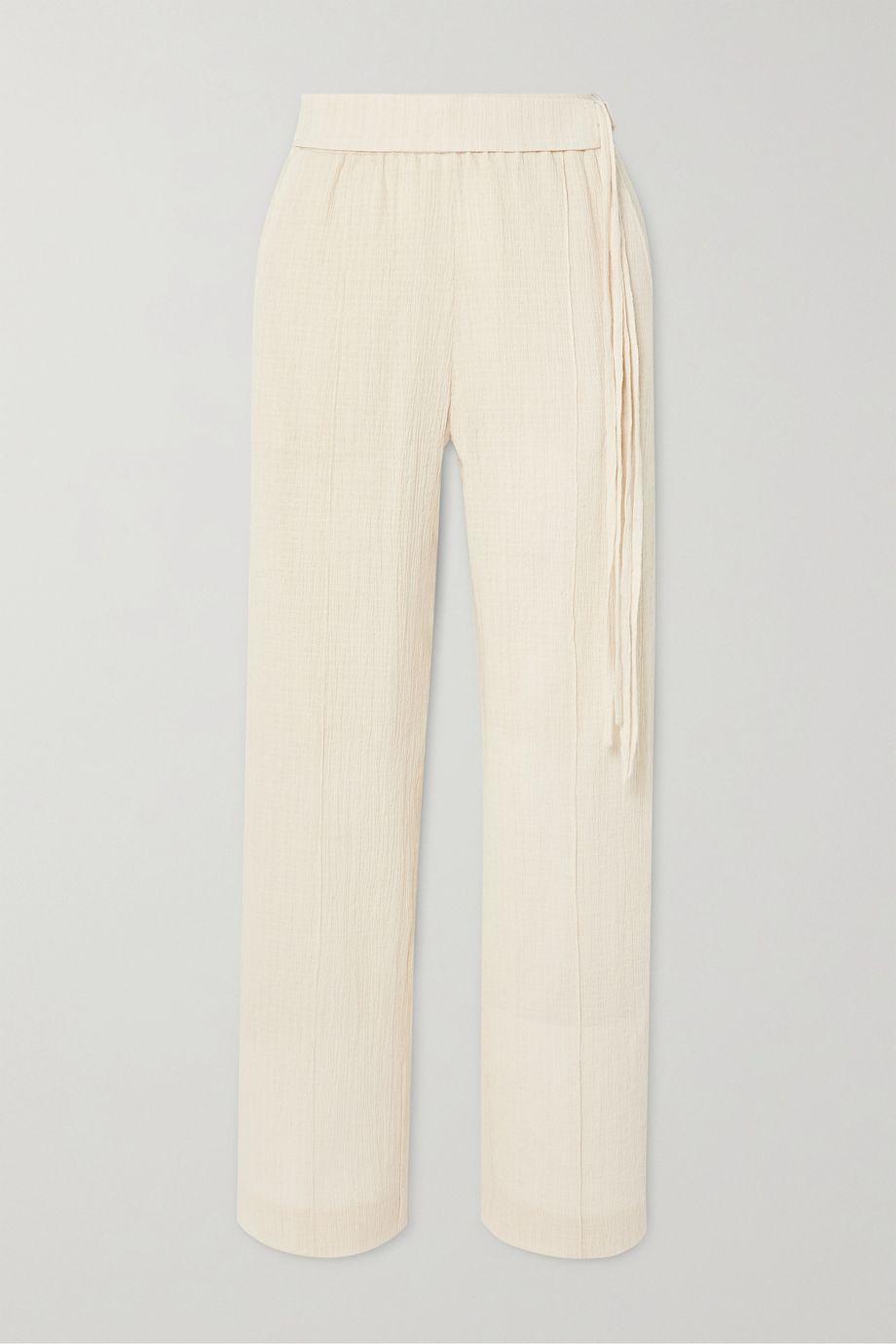 LE 17 SEPTEMBRE Belted cotton-blend crepon straight-leg pants