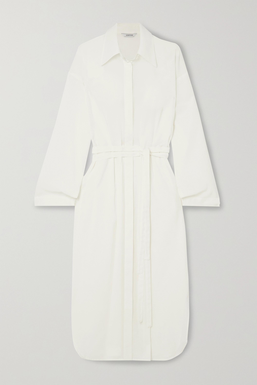 LE 17 SEPTEMBRE 配腰带亚麻混纺衬衫式连衣裙