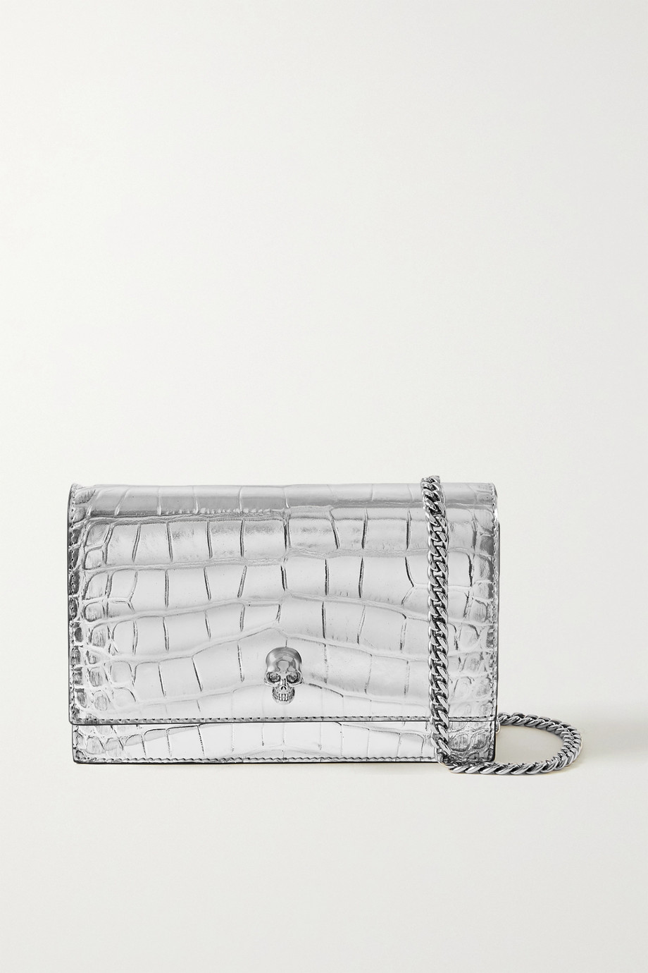 Alexander McQueen Skull small metallic croc-effect leather shoulder bag