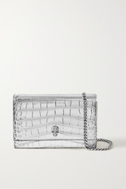 Alexander McQueen Skull small metallic croc-effect leather shoulder bag