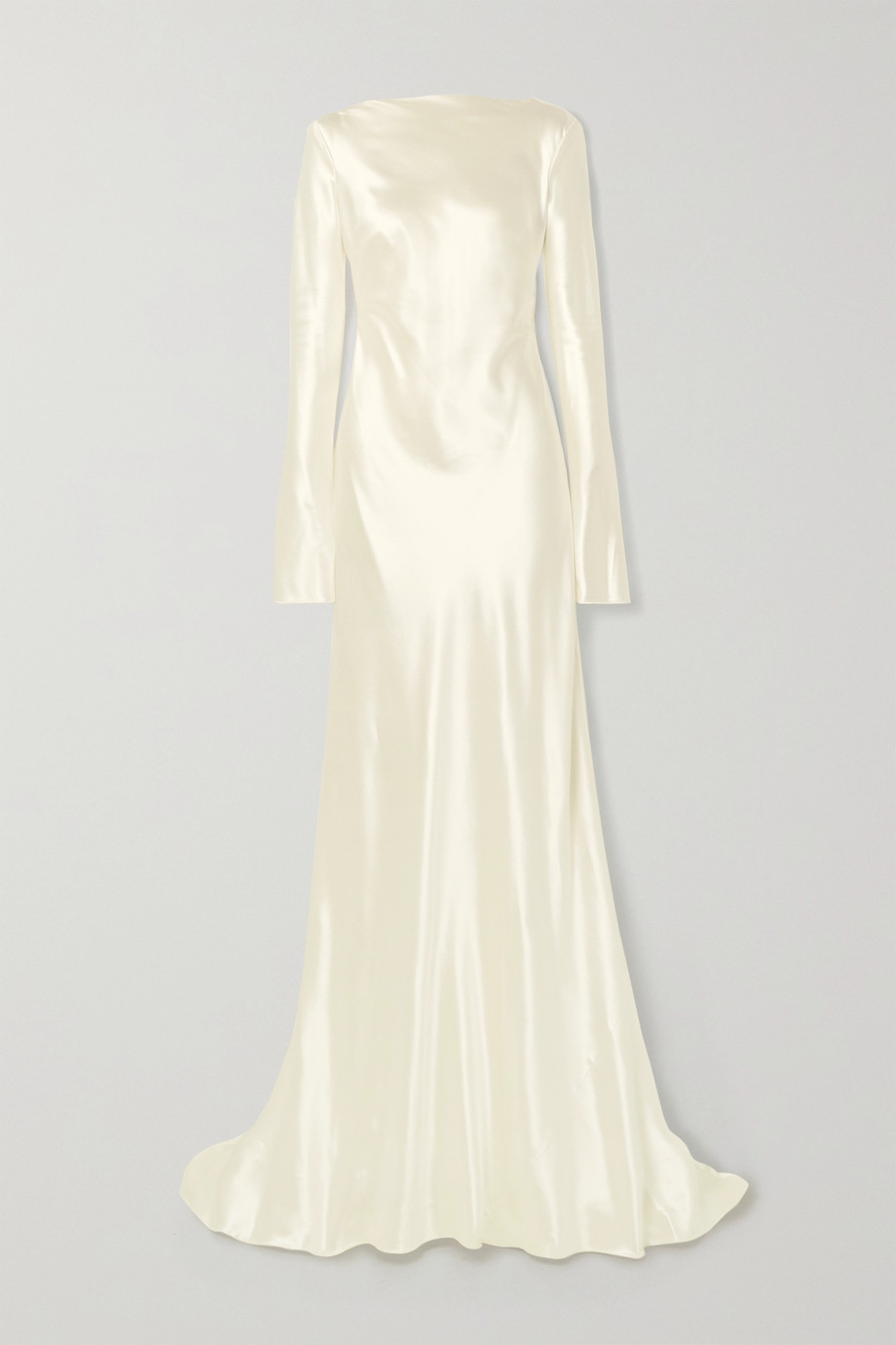 Danielle Frankel Simone open-back draped wool and silk-blend satin gown