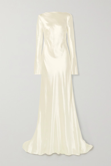 Danielle Frankel Simone Open-back Draped Wool And Silk-blend Satin Gown In Ivory