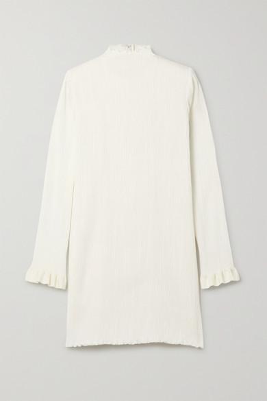 Danielle Frankel Jamie Ruffled Plissé Silk-blend Mini Dress In Ivory