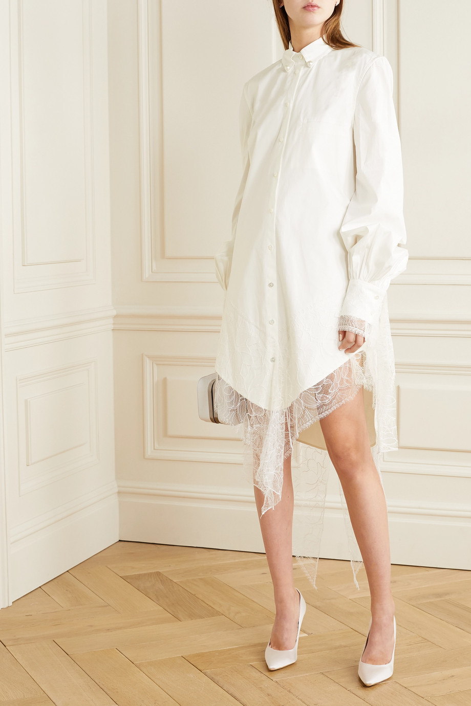 Danielle Frankel Naomi lace-trimmed poplin shirt dress