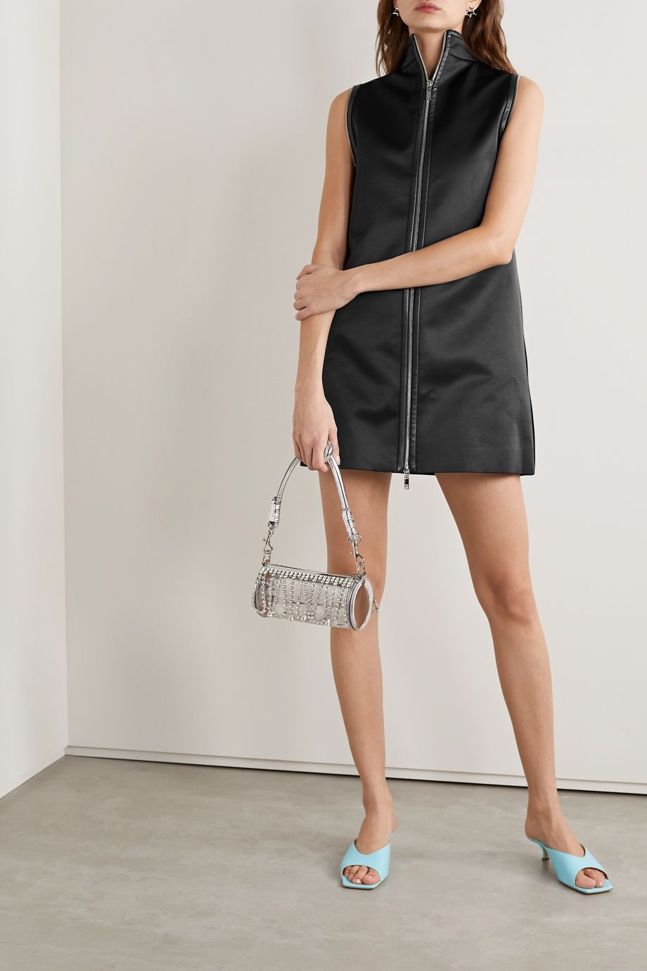 we11done Zip-embellished faux leather-trimmed satin mini dress