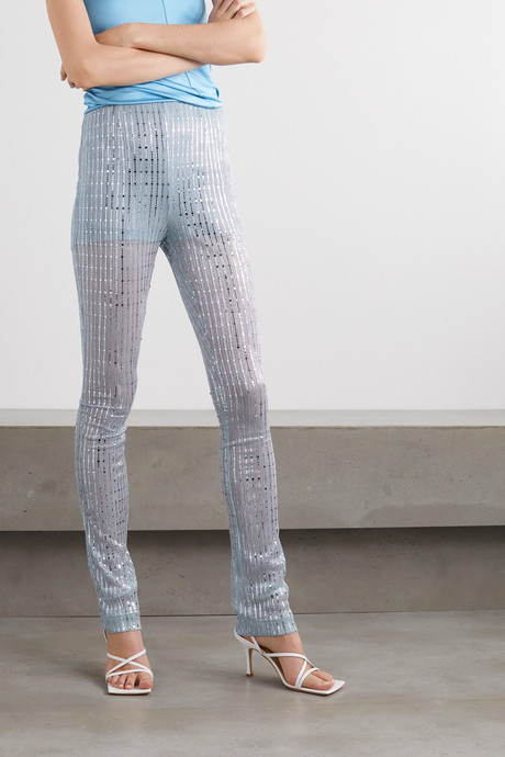 Sequin-embellished metallic ribbed-knit skinny pants