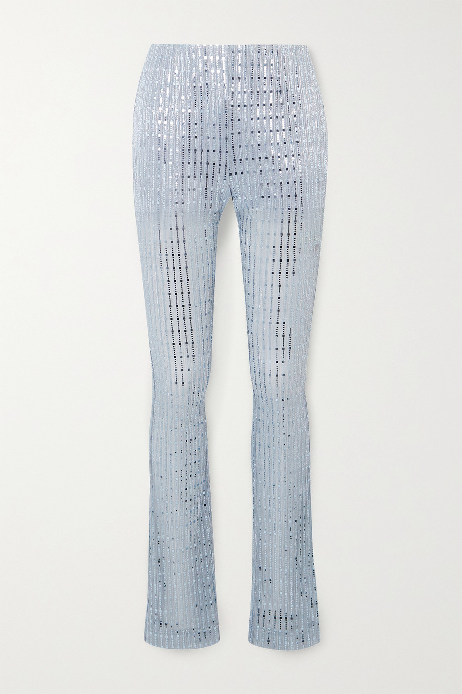 we11done Sequin-embellished metallic ribbed-knit skinny pants