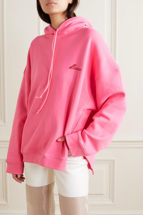 Oversized appliquéd printed cotton-jersey hoodie