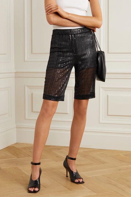 Sequined tulle shorts