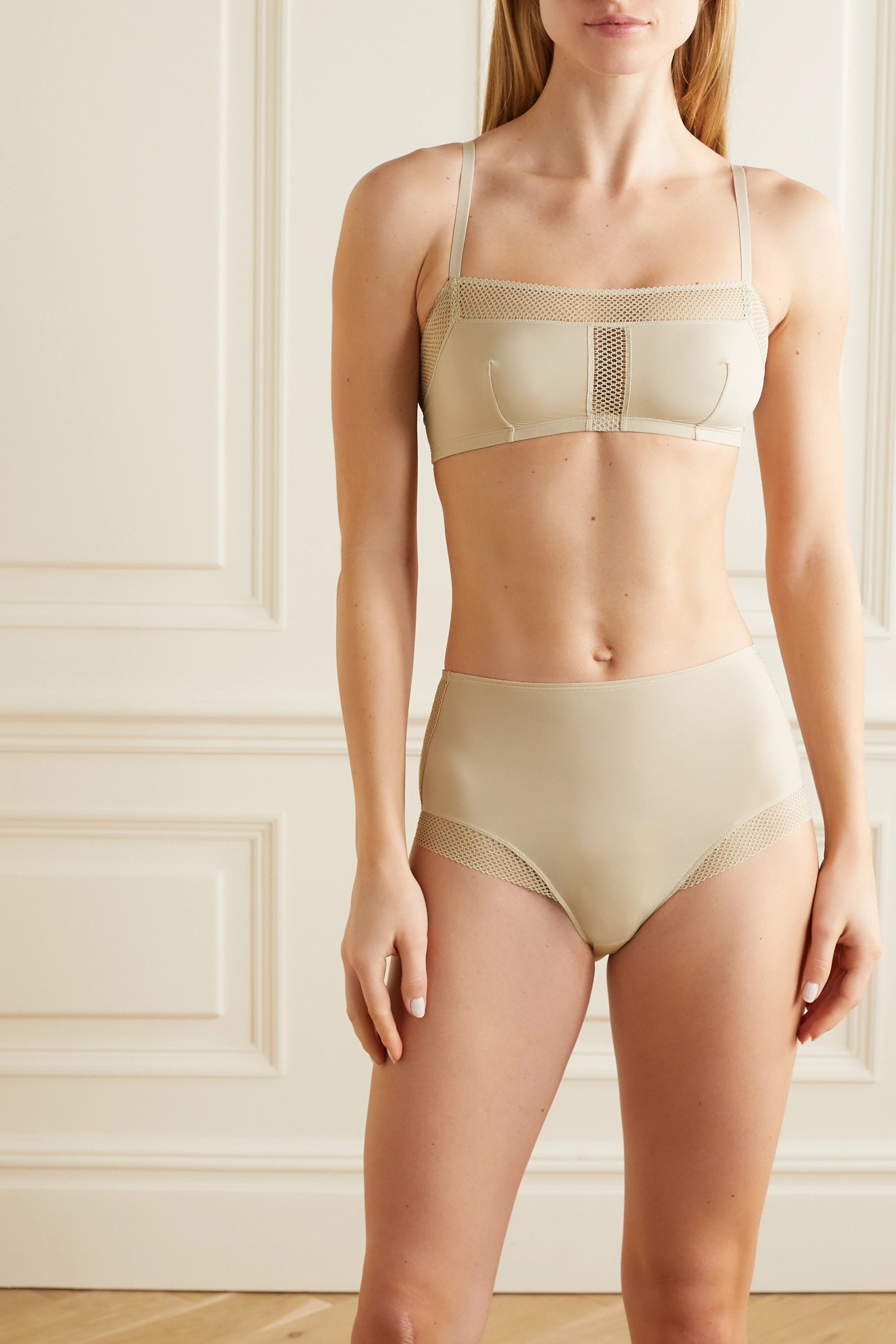 Eres Resille mesh-trimmed stretch-jersey soft-cup bra