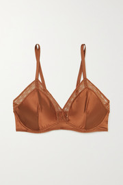 Eres Bourdon lace-trimmed silk-blend satin underwired triangle bra