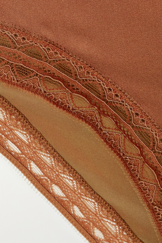 Eres Tresse lace-trimmed silk-blend satin briefs