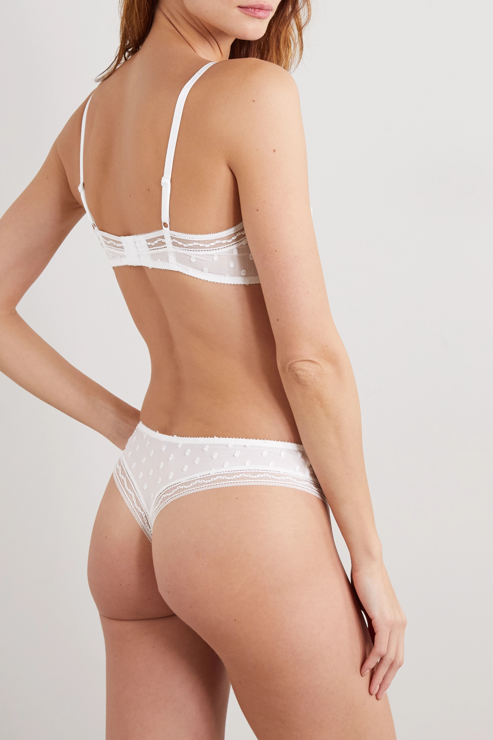 Eres Boutis Pastille flocked stretch-tulle soft-cup triangle bra