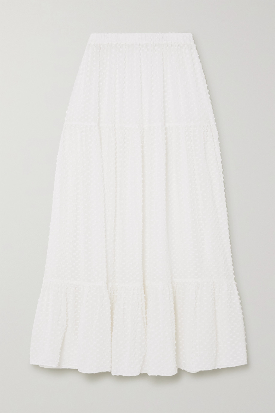 Eres Boutis tiered ruffled fil coupé silk and cotton-blend midi skirt