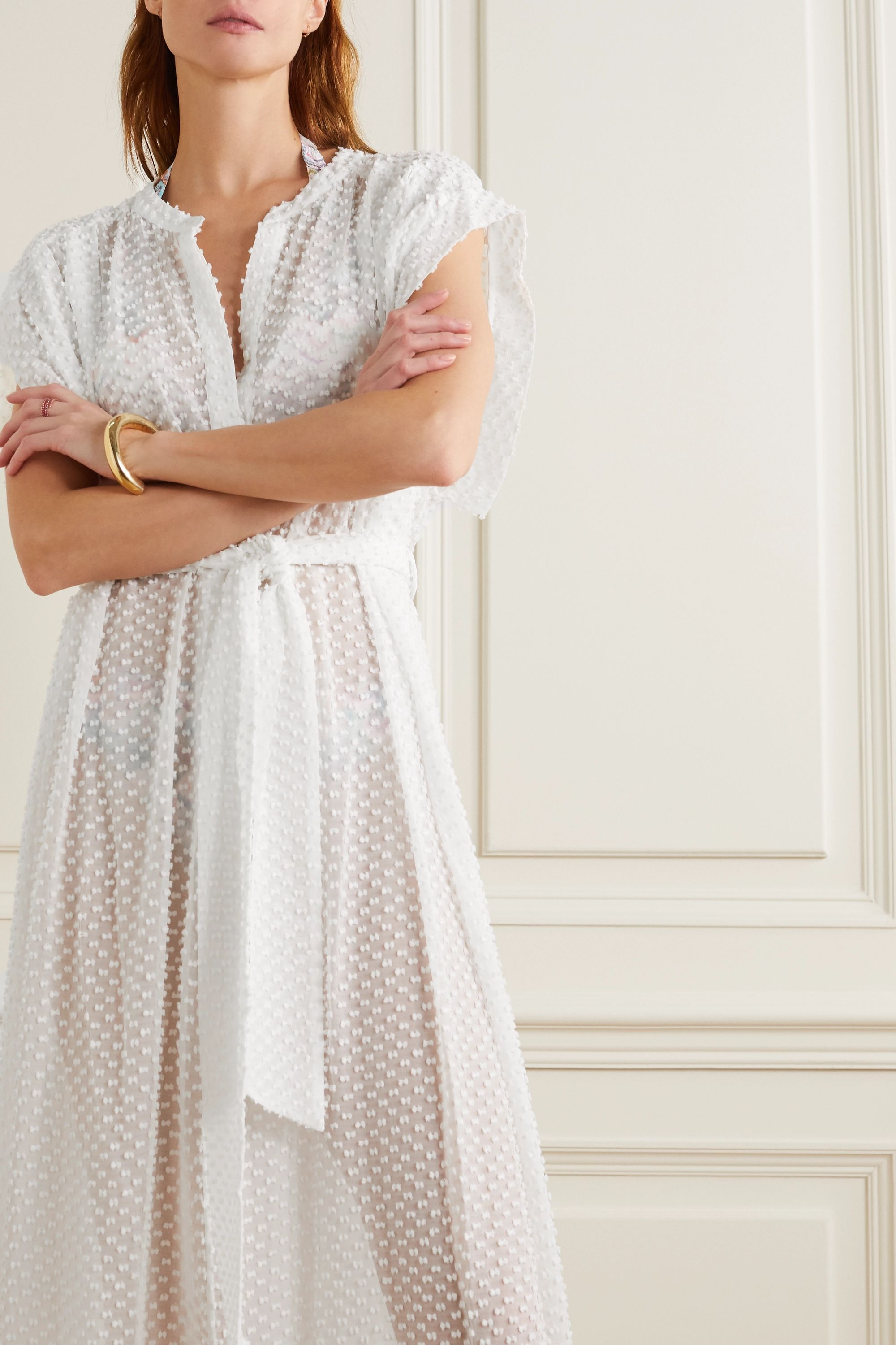 Eres Eglantine belted fil coupé silk and cotton-blend robe