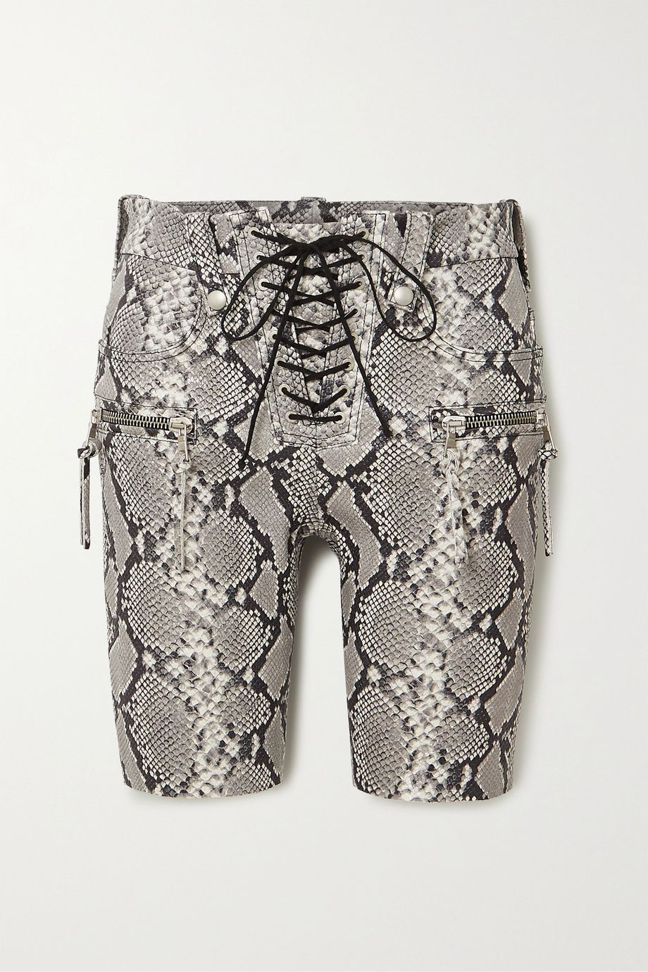 Unravel Project Lace-up snake-effect leather shorts