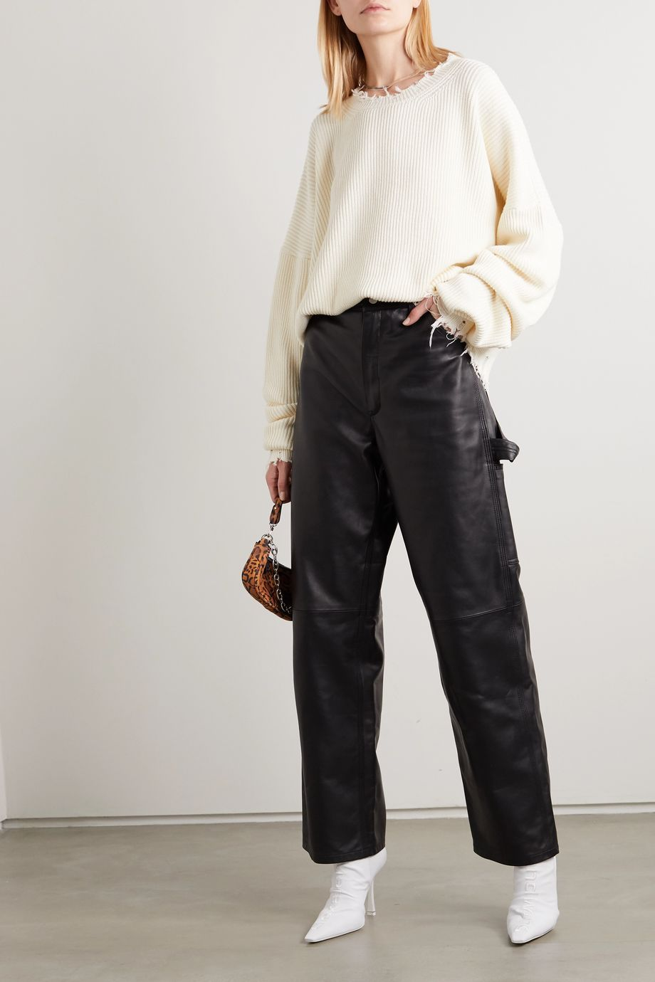 Unravel Project Leather straight-leg pants