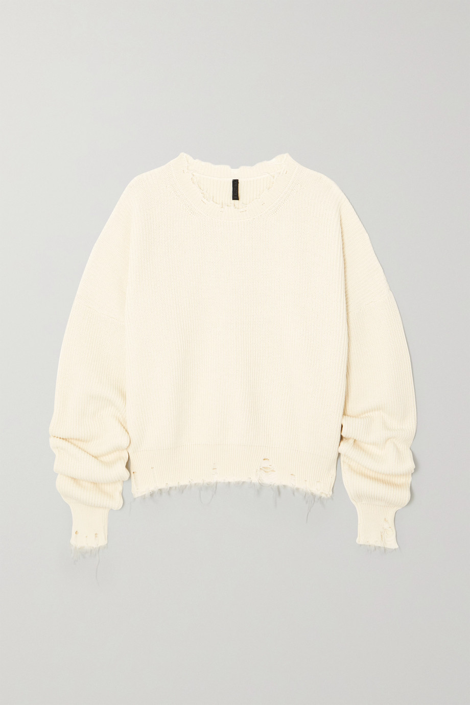 Unravel Project Distressed ribbed cotton and cashmere-blend sweater