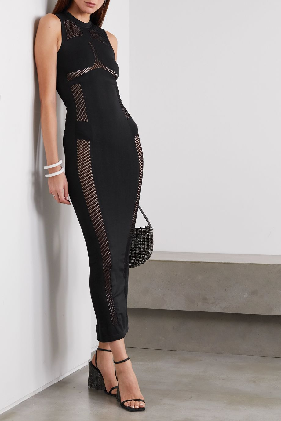 Unravel Project Mesh-paneled stretch-jersey maxi dress