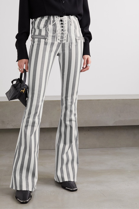 Lace-up striped cotton-blend flared pants