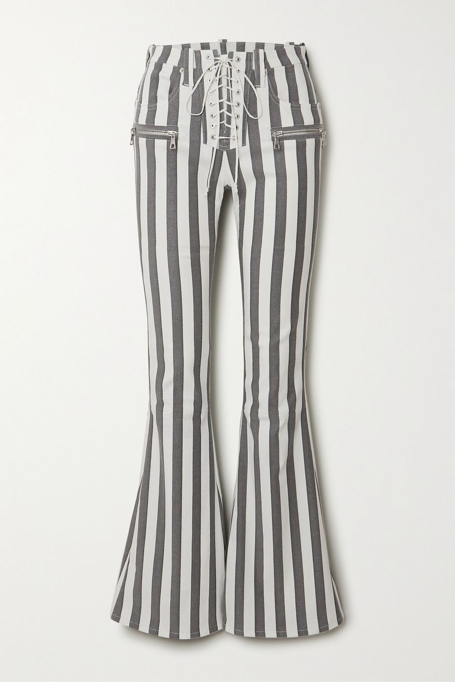 Unravel Project Lace-up striped cotton-blend flared pants