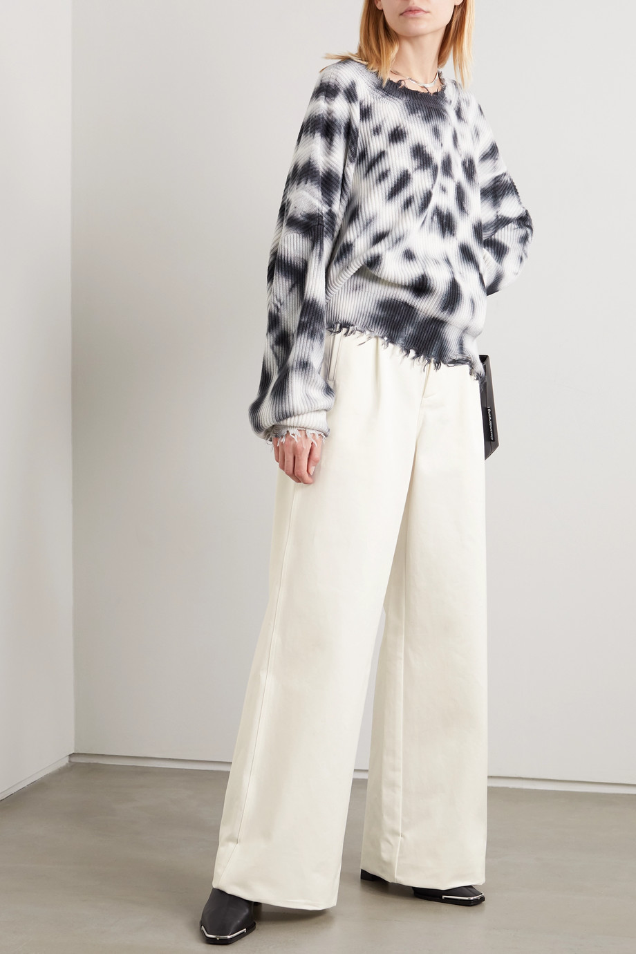 Unravel Project Cotton-twill wide-leg pants