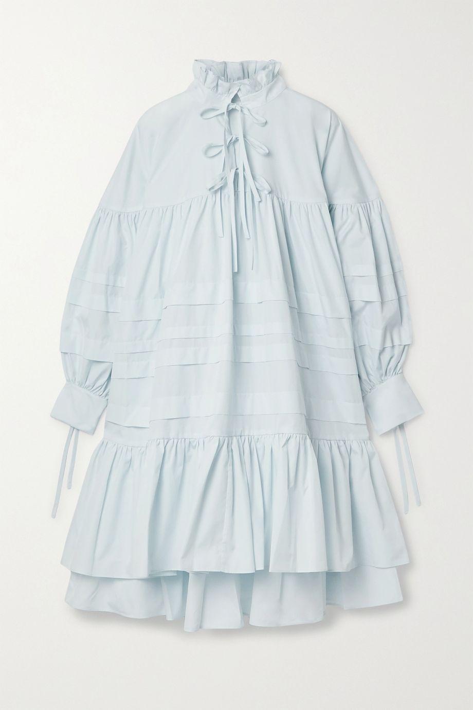 Cecilie Bahnsen Macy oversized ruffled pintucked cotton-poplin dress