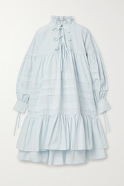 Cecilie Bahnsen Macy oversized ruffled pintucked cotton-poplin dress