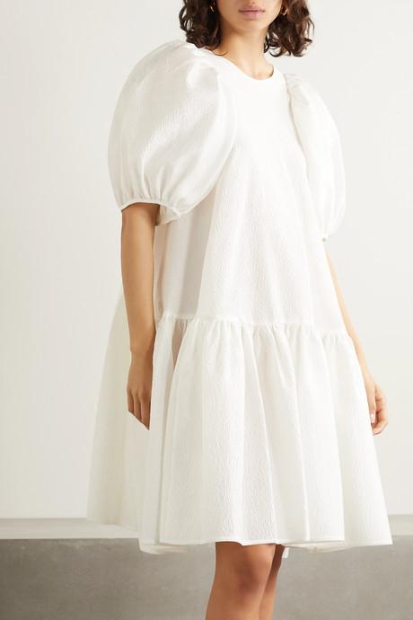 Alexa oversized tiered cloqué dress