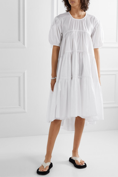 Esme Tiered Sateen Dress by Cecilie Bahnsen