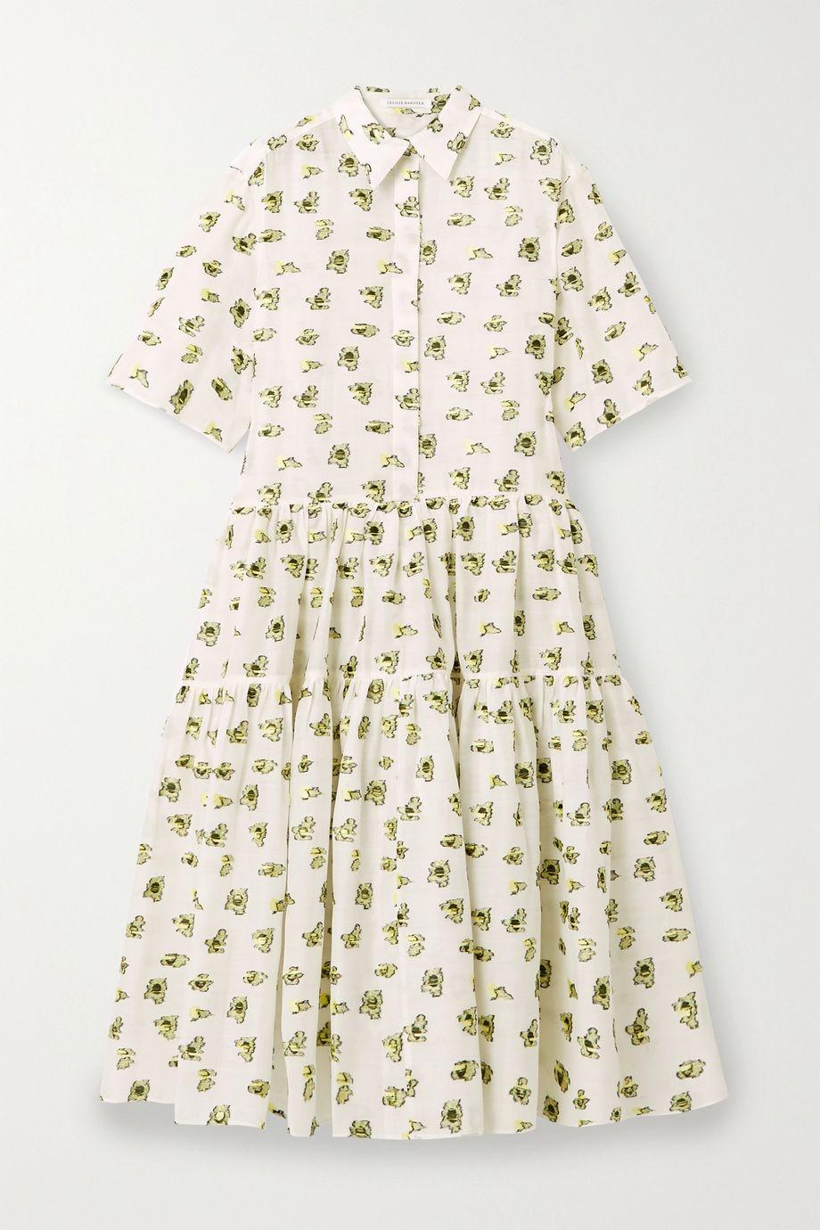 Cecilie Bahnsen Primrose 大廓形刺绣提花巴里纱中长连衣裙