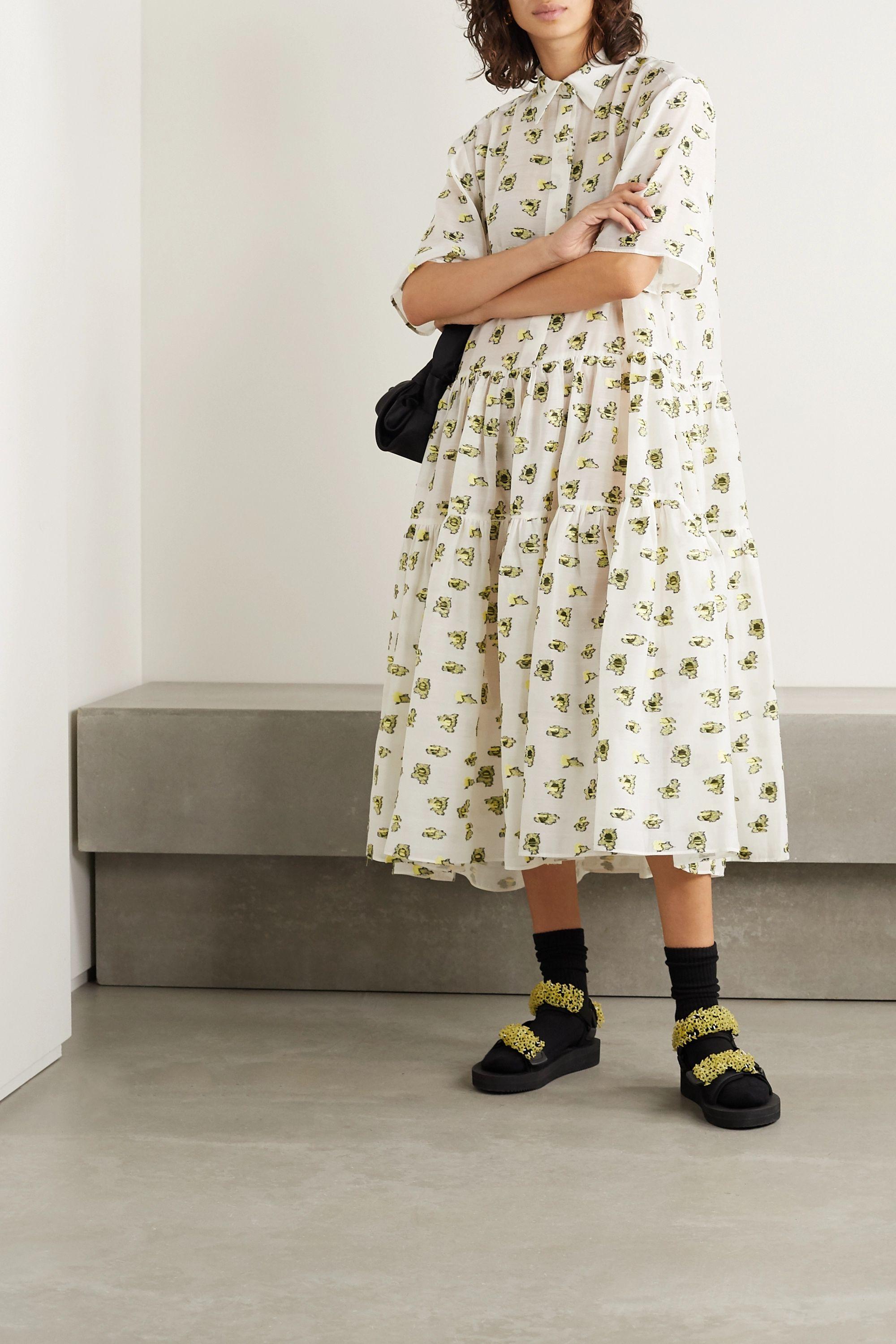 Cecilie Bahnsen Primrose oversized fil coupé voile midi dress