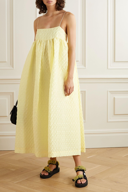 Cecilie Bahnsen Beth oversized gathered linen-blend cloqué midi dress