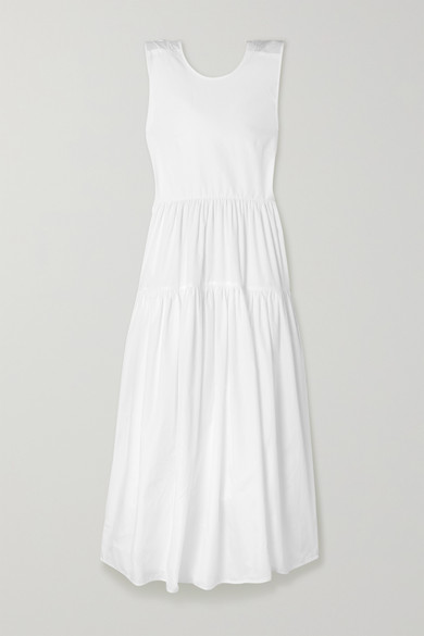 Cecilie Bahnsen Dresses RUTH TIERED OPEN-BACK COTTON-POPLIN MIDI DRESS