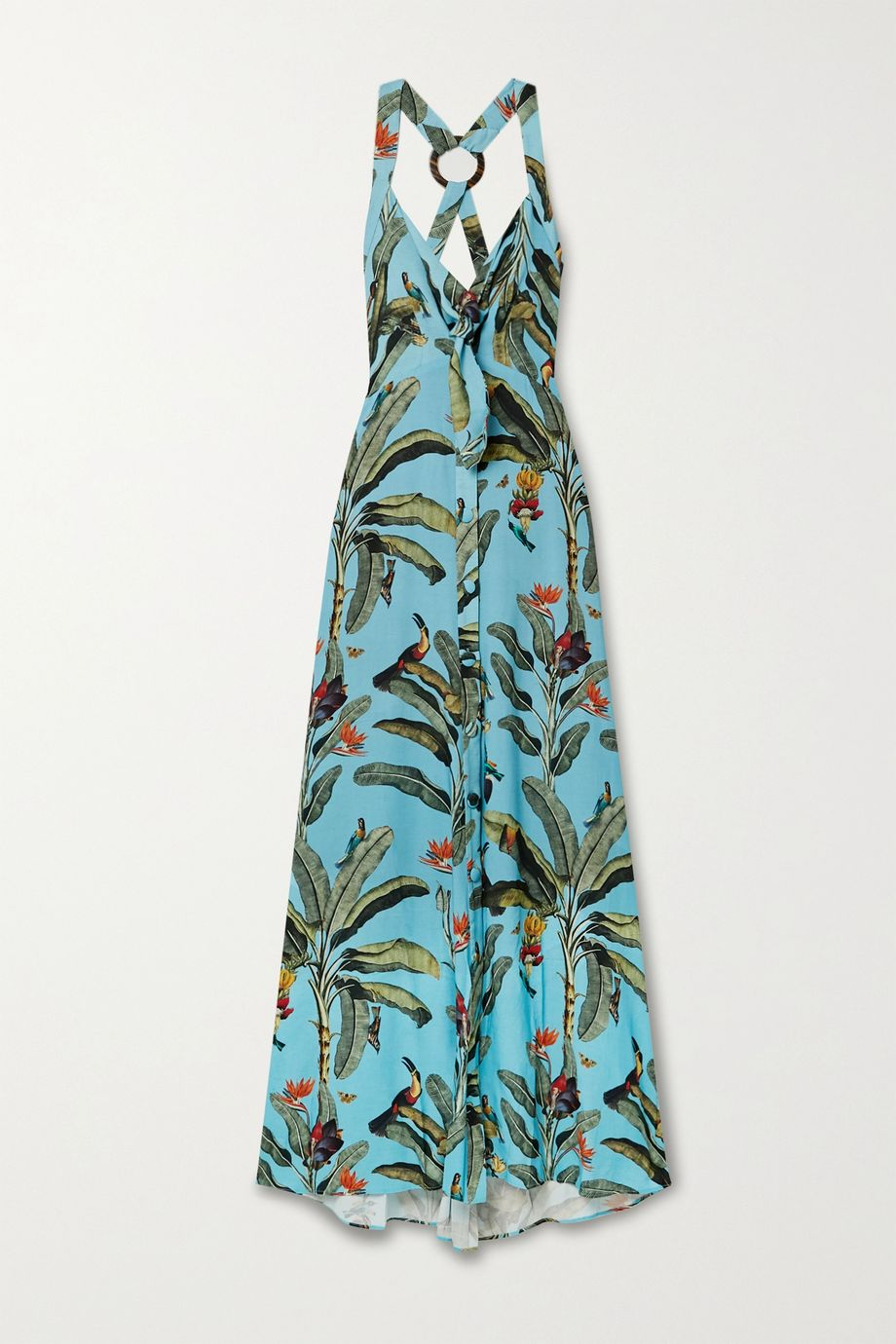 PatBO Printed voile halterneck maxi dress