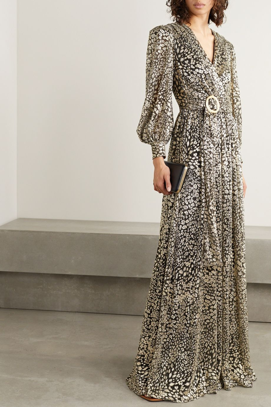 PatBO Belted metallic leopard-jacquard maxi dress
