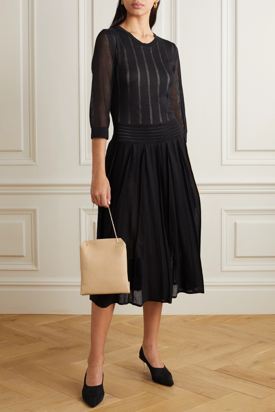 Agnona Pleated open-knit cotton-blend midi dress