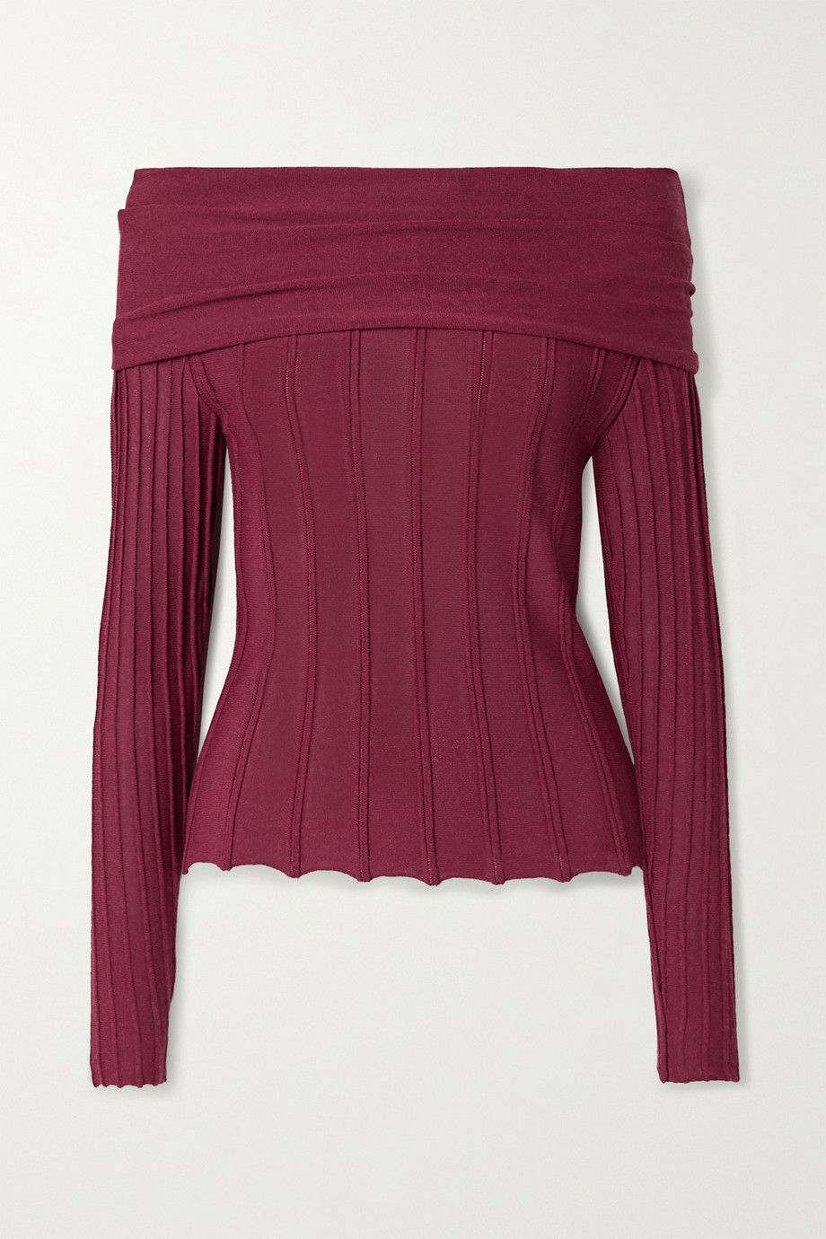 Agnona Off-the-shoulder ribbed-knit top