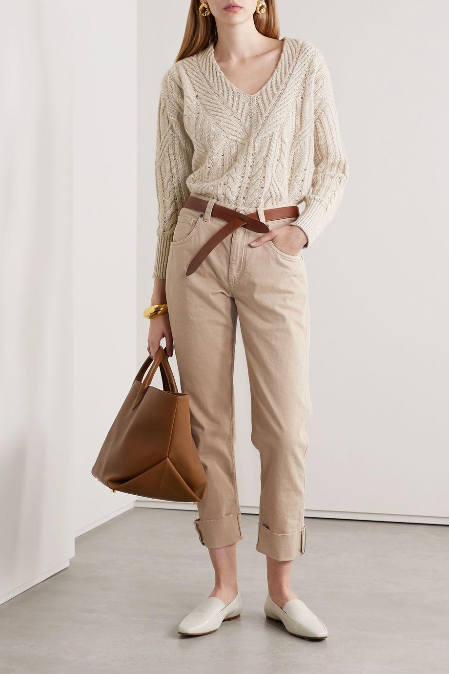 Agnona Cable-knit cashmere and linen-blend sweater