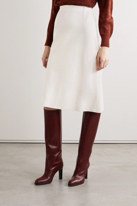 Wool, silk and cashmere-blend skirt